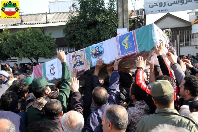 مراسم تشییع پیکرمطهر شهید مدافع حرم سردارمهدی قره محمدی در آمل- تصویری